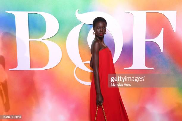 Adut Akech attends the #BoF500 gala dinner during New York Fashion Week Spring/Summer 2019 at 1 Hotel Brooklyn Bridge on September 9 2018 in Brooklyn...