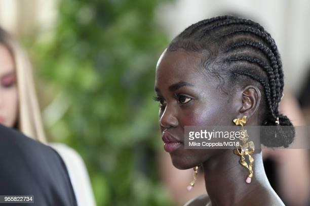 Adut Akech attends the Heavenly Bodies Fashion The Catholic Imagination Costume Institute Gala at The Metropolitan Museum of Art on May 7 2018 in New...