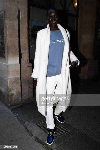 Adut Akech attends the Isabel Marant show as part of the Paris Fashion Week Womenswear Fall/Winter 2020/2021 on February 27 2020 in Paris France