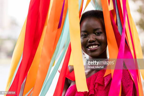 Adut Akech attends the Swarovski Rainbow Paradise Spring Summer 18 Collection Launch on November 24, 2017 in Sydney, Australia.