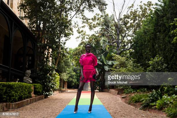 Adut Akech attends the Swarovski Rainbow Paradise Spring Summer 18 Collection Launch on November 24 2017 in Sydney Australia