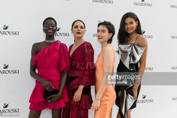 Adut Akech George Mapel Isabella Manfredi and Kelly Gale attend the Swarovski Rainbow Paradise Spring Summer 18 Collection Launch on November 24 2017...