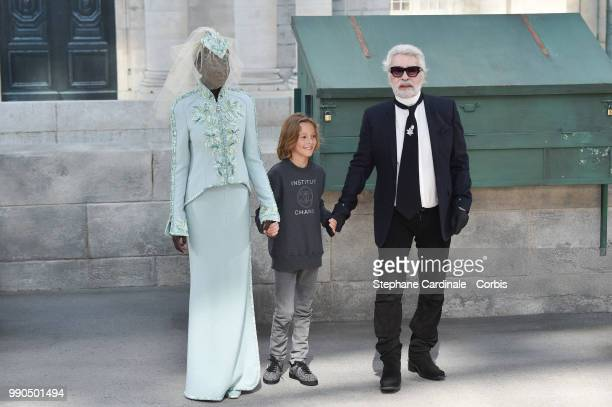 Adut Akech Hudson Kroenig Chanel Designer Karl Lagerfeld walks the runway during the Chanel Haute Couture Fall Winter 2018/2019 show as part of Paris...