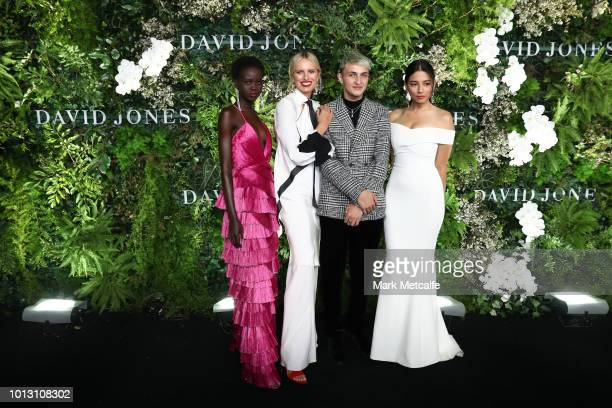 Adut Akech Karolina Kurkova Anwar Hadid and Jessica Gomes attend the David Jones Spring Summer 18 Collections Launch at Fox Studios on August 8 2018...