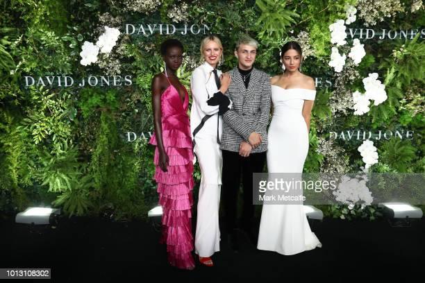 Adut Akech Karolina Kurkova Anwar Hadid and Jessica Gomes attend the David Jones Spring Summer 18 Collections Launch at Fox Studios on August 8 2018...