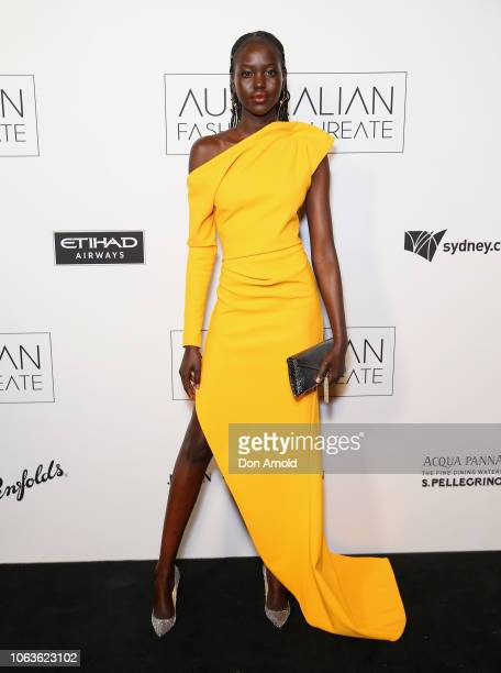 Adut Akech poses at the 2018 Australian Fashion Laureate Awards on November 20 2018 in Sydney Australia