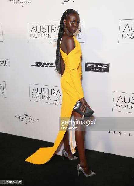 Adut Akech poses at the 2018 Australian Fashion Laureate Awards on November 20 2018 in Sydney Australia