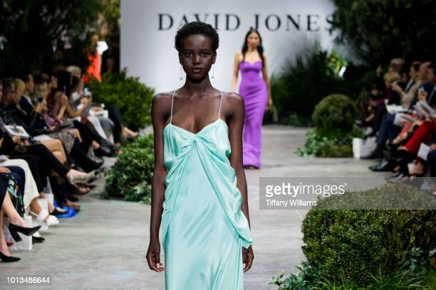 Adut Akech showcases designs by Bianca Spender designs during the David Jones Spring Summer 18 Collections Launch at Fox Studios on August 8 2018 in...