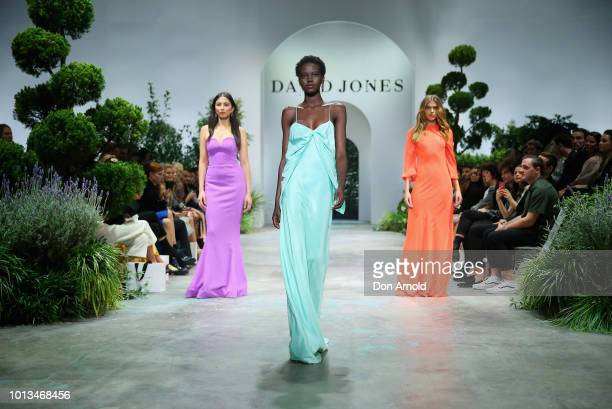 Adut Akech showcases designs during the David Jones Spring Summer 18 Collections Launch at Fox Studios on August 8 2018 in Sydney Australia