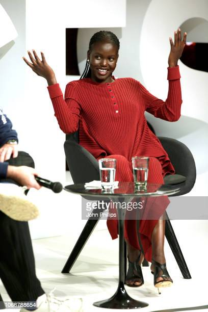 Adut Akech speaks on stage during #BoFVOICES on November 29 2018 in Oxfordshire England
