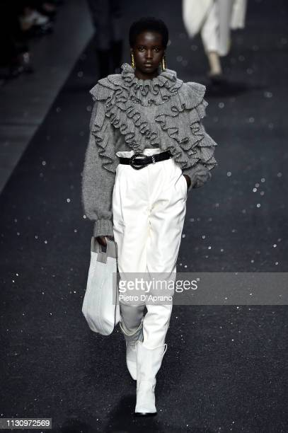 Adut Akech walks the runway at the Alberta Ferretti show at Milan Fashion Week Autumn/Winter 2019/20 on February 20 2019 in Milan Italy