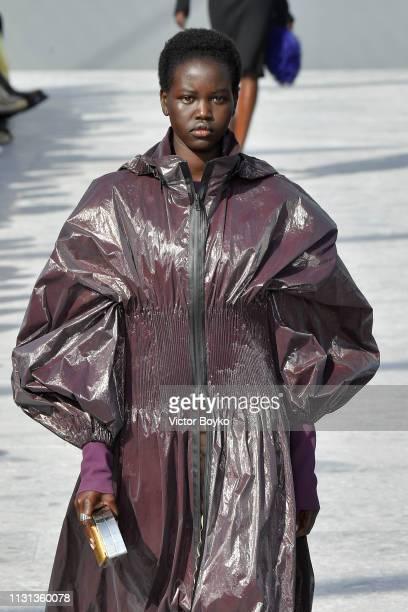Adut Akech walks the runway at the Bottega Veneta show at Milan Fashion Week Autumn/Winter 2019/20 on February 22 2019 in Milan Italy