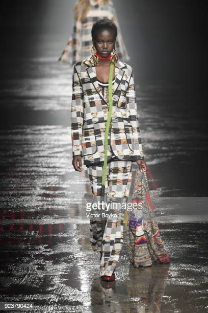 Adut Akech walks the runway at the Missoni show during Milan Fashion Week Fall/Winter 2018/19 on February 24 2018 in Milan Italy