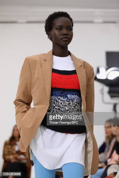 Adut Akech walks the runway at the Victoria Beckham show during London Fashion Week September 2018 on September 16 2018 in London England