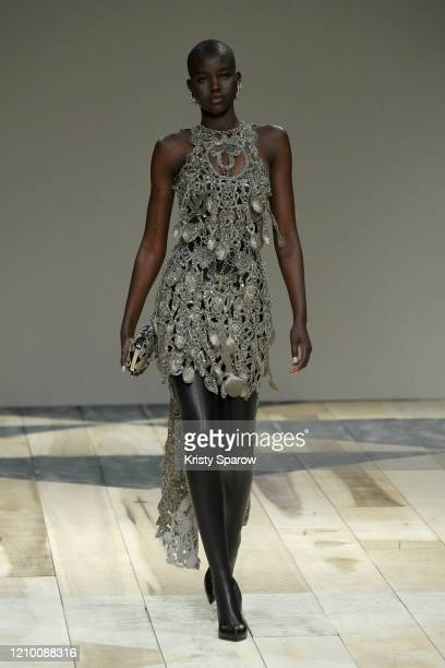Adut Akech walks the runway during the Alexander McQueen as part of Paris Fashion Week Womenswear Fall/Winter 2020/2021 on March 02, 2020 in Paris,...