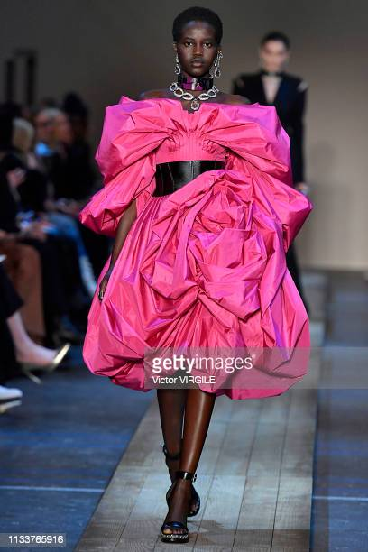 Adut Akech walks the runway during the Alexander McQueen Ready to Wear fashion show as part of the Paris Fashion Week Womenswear Fall/Winter...