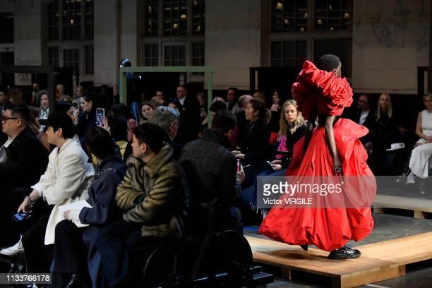 Adut Akech walks the runway during the Alexander McQueen Ready to Wear fashion show as part of the Paris Fashion Week Womenswear Fall/Winter...