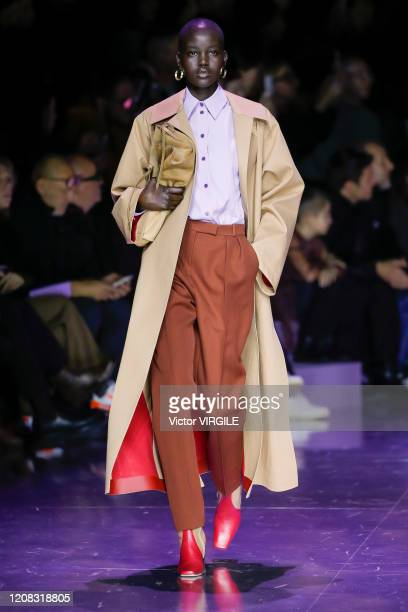 Adut Akech walks the runway during the Boss Ready to Wear fashion show as part of Milan Fashion Week Fall/Winter 20202021 on February 23 2020 in...