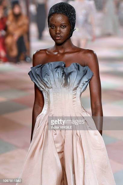 Adut Akech walks the runway during the Christian Dior Haute Couture Spring Summer 2019 fashion show as part of Paris Fashion Week on January 21 2019...