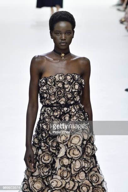 Adut Akech walks the runway during the Christian Dior Haute Couture Fall Winter 2018/2019 show as part of Paris Fashion Week on July 2 2018 in Paris...