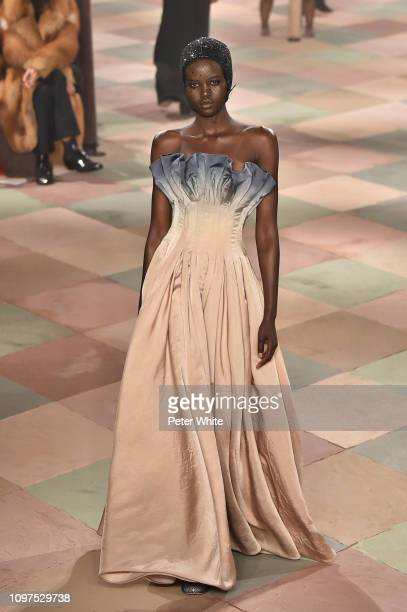 Adut Akech walks the runway during the Christian Dior Spring Summer 2019 show as part of Paris Fashion Week on January 21 2019 in Paris France