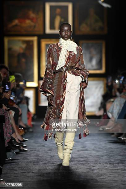 Adut Akech walks the runway during the Etro fashion show as part of Milan Fashion Week Fall/Winter 20202021 on February 21 2020 in Milan Italy