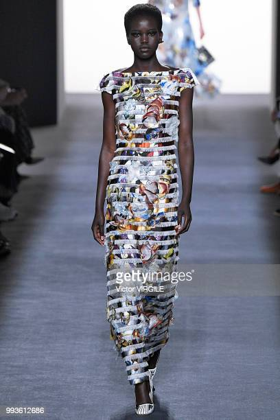 Adut Akech walks the runway during the Fendi Couture Haute Couture Fall Winter 2018/2019 fashion show as part of Paris Fashion Week on July 4 2018 in...