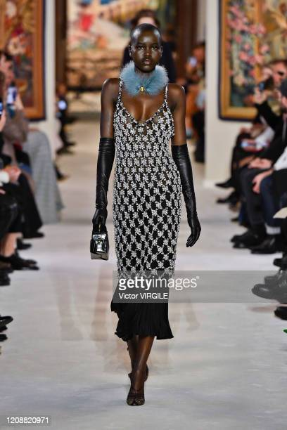 Adut Akech walks the runway during the Lanvin Ready to Wear fashion show as part of the Paris Fashion Week Womenswear Fall/Winter 2020/2021 on...