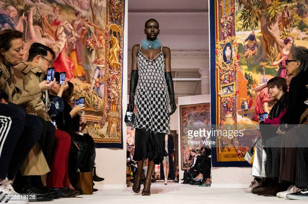 Adut Akech walks the runway during the Lanvin show as part of the Paris Fashion Week Womenswear Fall/Winter 2020/2021 on February 26 2020 in Paris...