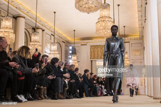 Adut Akech walks the runway during the Nina Ricci show as part of the Paris Fashion Week Womenswear Fall/Winter 2018/2019 on March 2 2018 in Paris...