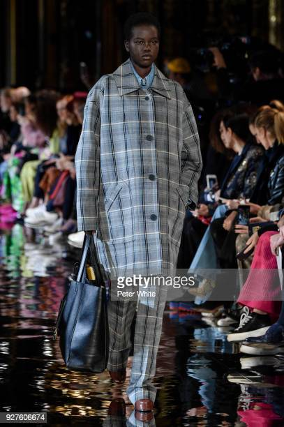 Adut Akech walks the runway during the Stella McCartney show as part of the Paris Fashion Week Womenswear Fall/Winter 2018/2019 on March 5 2018 in...