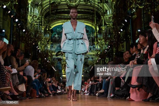 Adut Akech walks the runway during the Stella McCartney Womenswear Spring/Summer 2020 show as part of Paris Fashion Week on September 30 2019 in...