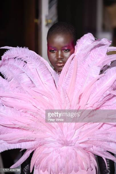 Adut Akech walks the runway during the Valentino Haute Couture Spring/Summer 2020 show as part of Paris Fashion Week on January 22, 2020 in Paris,...