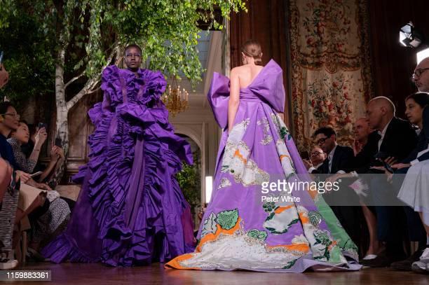 Adut Akech walks the runway during the walks the runway during the Valentino Fall/Winter 2019 2020 show as part of Paris Fashion Week on July 03,...