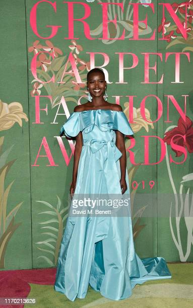 Adut Akech wearing Valentino attends The Green Carpet Fashion Awards Italia 2019 hosted by CNMI EcoAge at Teatro Alla Scala on September 22 2019 in...