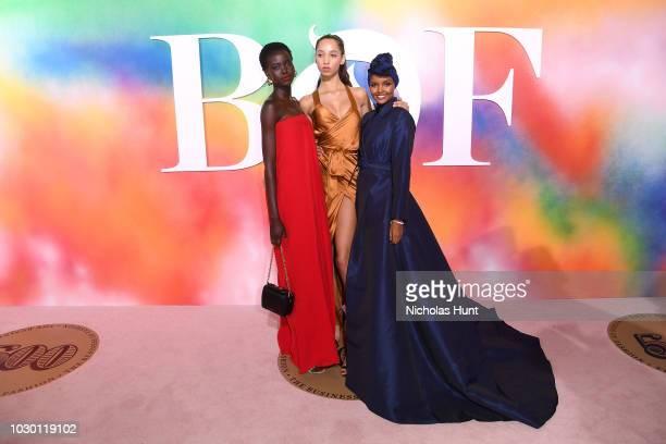 Adut Akech Yasmin Wijnaldum and Halima Aden attend the #BoF500 gala dinner during New York Fashion Week Spring/Summer 2019 at 1 Hotel Brooklyn Bridge...