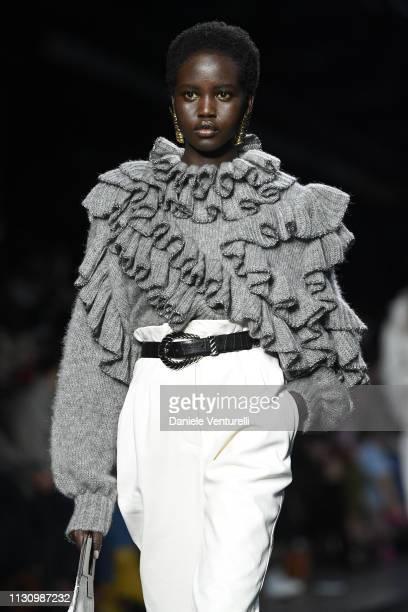Adut Akechwalks the runway at the Alberta Ferretti show at Milan Fashion Week Autumn/Winter 2019/20 on February 20 2019 in Milan Italy