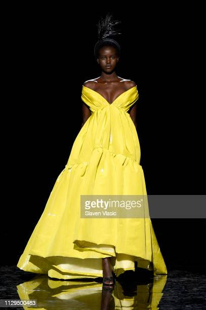 Adut Aketch walks the runway for the Marc Jacobs Fall 2019 Show at Park Avenue Armory on February 13 2019 in New York City