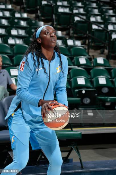 Adut Bulgak of the Chicago Sky handles the ball before the game against the Indiana Fever on May 19 2018 at Bankers Life Fieldhouse in Indianapolis...