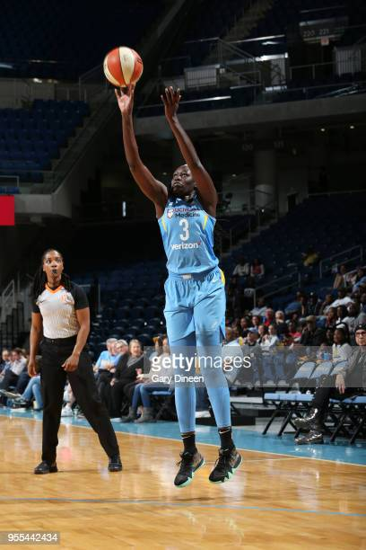 Adut Bulgak of the Chicago Sky shoots the ball against the Atlanta Dream during the Preseason game on May 6 2018 at the Wintrust Arena in Chicago...