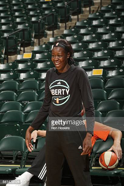 Adut Bulgak of the New York Liberty warms up before the game against the Indiana Fever on June 19 2016 at Bankers Life Fieldhouse in Indianapolis...