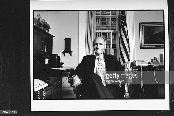 NSC Adv Brent Scowcroft sitting in his office at the WH