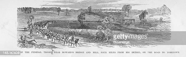 Advance at Howard's Bridge on the way to Yorktown Big Bethel Virginia 1861 From an issue of Frank Leslie's Illustrated Almanac