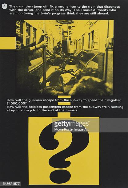 Advance publicity material for the US release of Joseph Sargent's 1974 thriller 'The Taking of Pelham One Two Three' The film stars Walter Matthau...