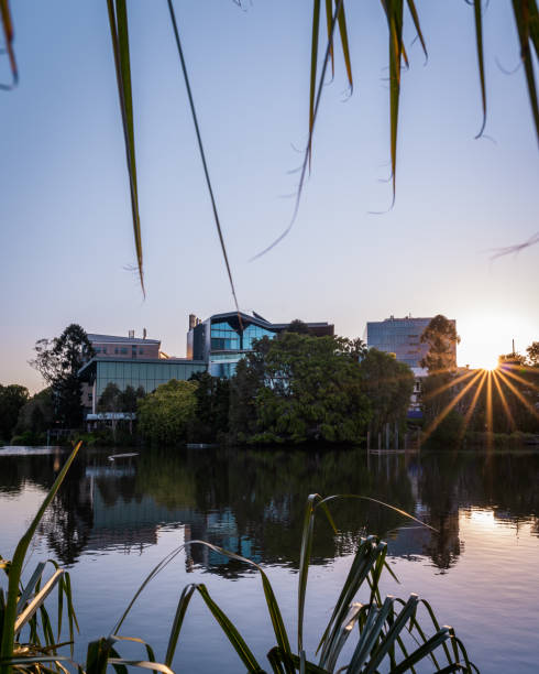 Advanced Engineering Building at Sunset from The University of Queensland Lake