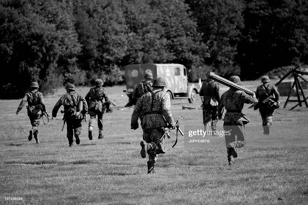 WW2 Advancing Army. : Stock Photo