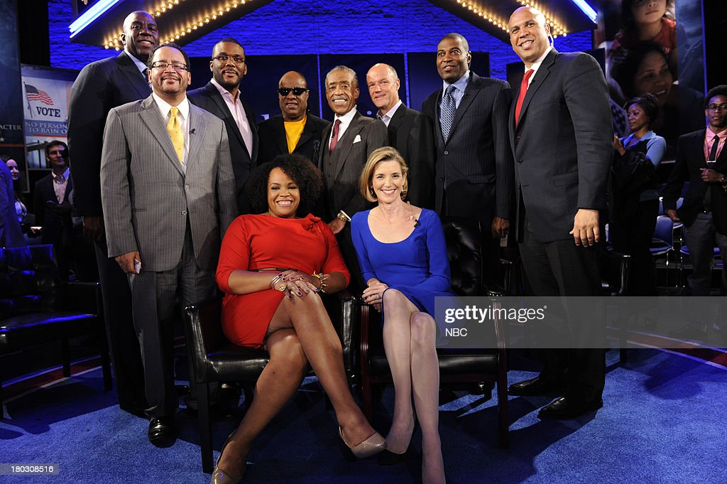 SPECIALS -- 'Advancing the Dream: Live from the Apollo' -- Pictured: back (l-r) Magic Johnson, Michael Eric Dyson, Tyler Perry, Stevie Wonder, Rev. Al Sharpton, Phil Griffin President MSNBC, Ryan Blaylock, Cory Booker; front (l-r) Lisa Price, Sallie Krawcheck --