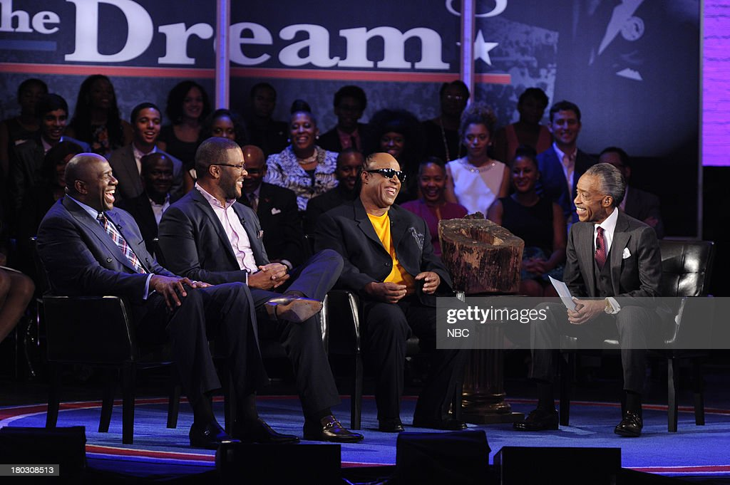 SPECIALS -- 'Advancing the Dream: Live from the Apollo' -- Pictured: (l-r) Magic Johnson, Tyler Perry, Stevie Wonder, Rev. Al Sharpton --