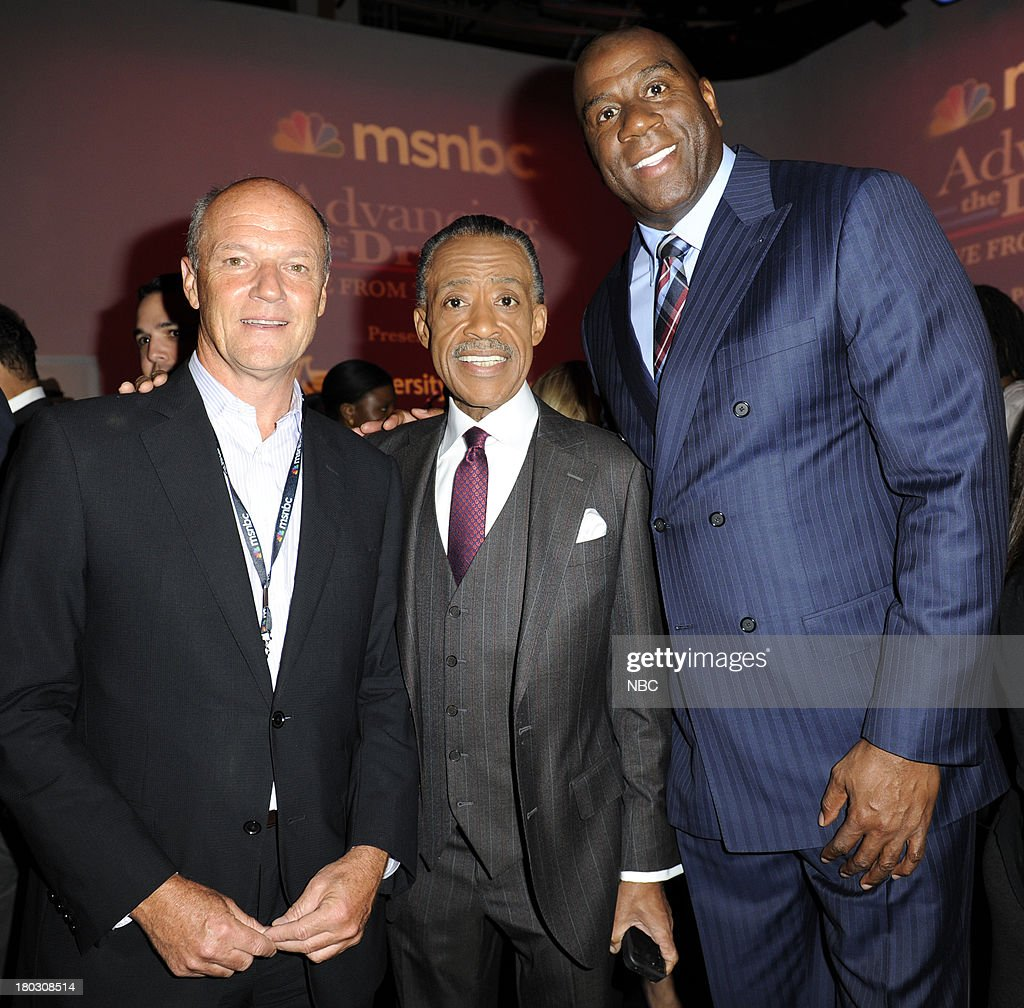 SPECIALS -- 'Advancing the Dream: Live from the Apollo' -- Pictured: (l-r) Phil Griffin President MSNBC, Rev. Al Sharpton, Magic Johnson --