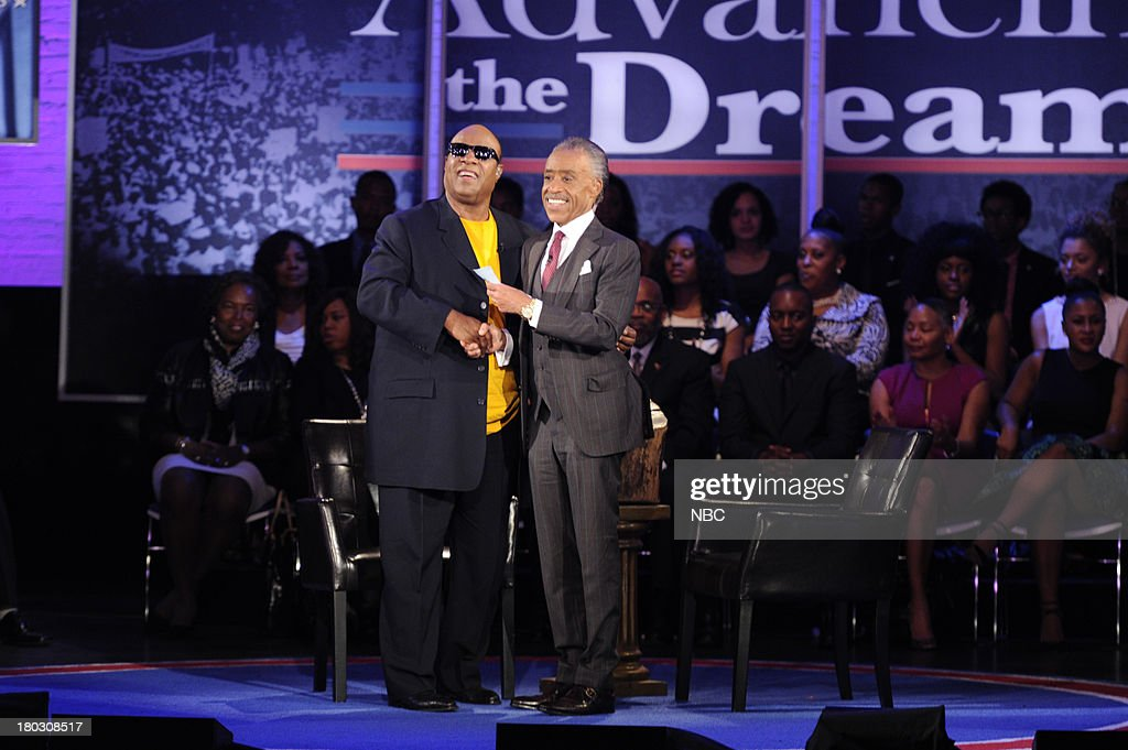 SPECIALS -- 'Advancing the Dream: Live from the Apollo' -- Pictured: (l-r) Stevie Wonder, Rev. Al Sharpton --